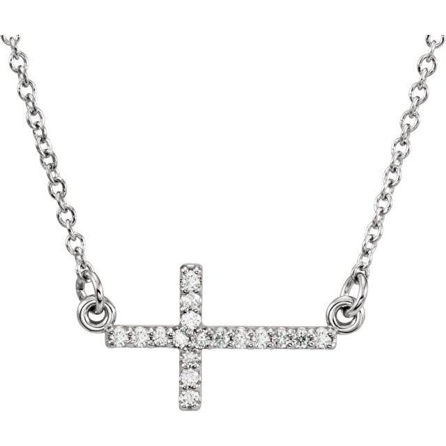 14K White .07 CTW Diamond Sideways Cross 16-18