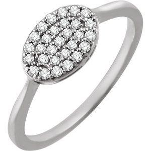 14K White 1/5 CTW Diamond Oval Cluster Ring