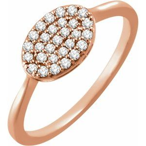 14K Rose 1/5 CTW Diamond Oval Cluster Ring