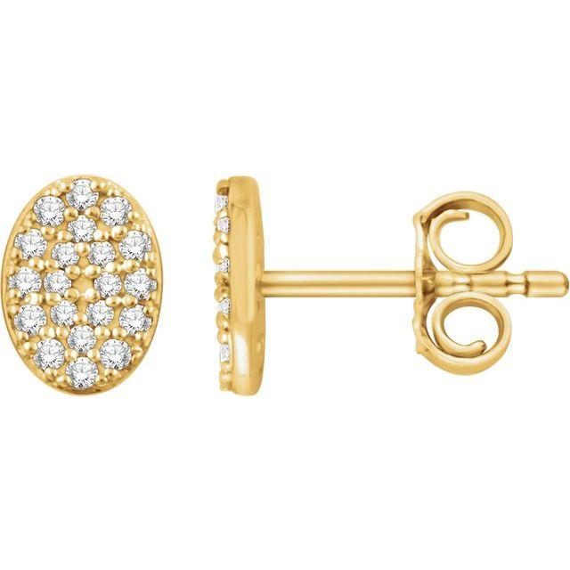 14K Yellow 1/6 CTW Diamond Oval Cluster Earrings