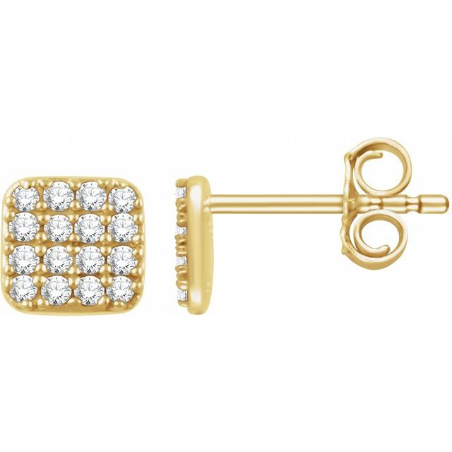 14K Yellow 1/5 CTW Diamond Square Cluster Earrings