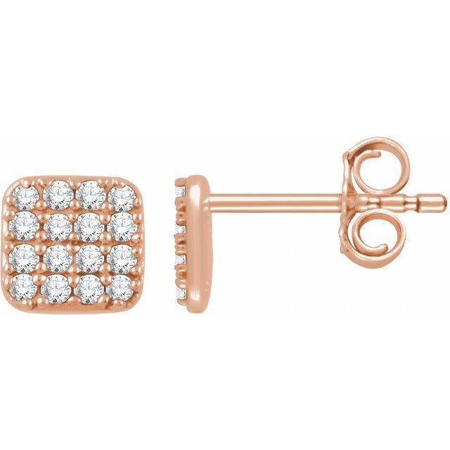 14K Rose 1/5 CTW Natural Diamond Cluster Earrings