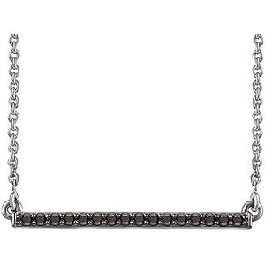 "14K White 1/6 CTW Black Diamond Bar 18"" Necklace"