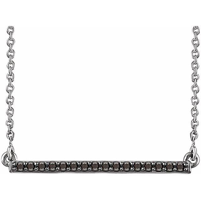 14K White 1/6 CTW Natural Black Diamond Bar 16-18