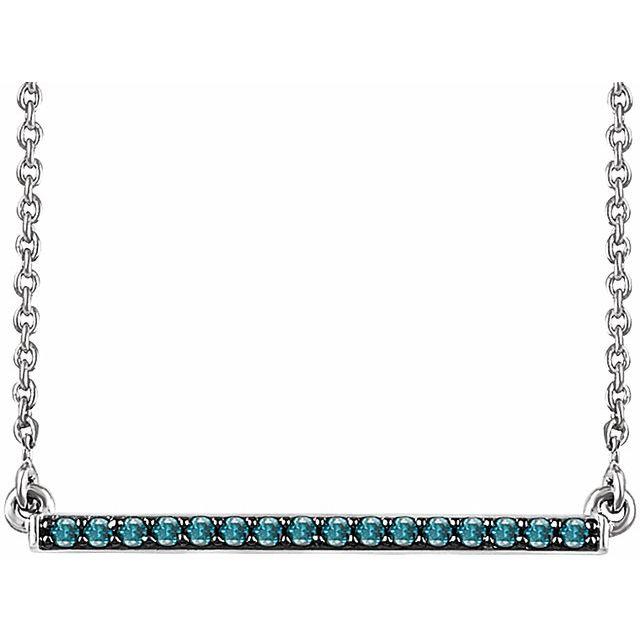 14K White 1/6 CTW Natural Blue Diamond Bar 16-18
