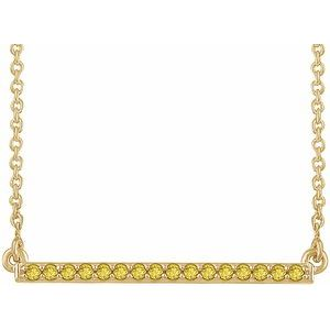 "14K Yellow 1/6 CTW Yellow Diamond 18"" Bar Necklace"