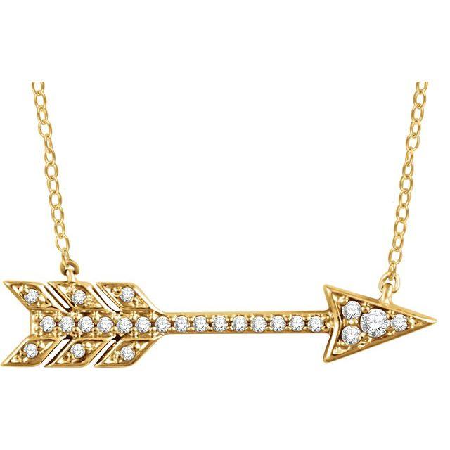 14K Yellow 1/10 CTW Diamond Arrow 18