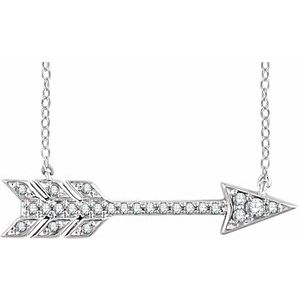 "14K White 1/10 CTW Diamond Arrow 18"" Necklace"