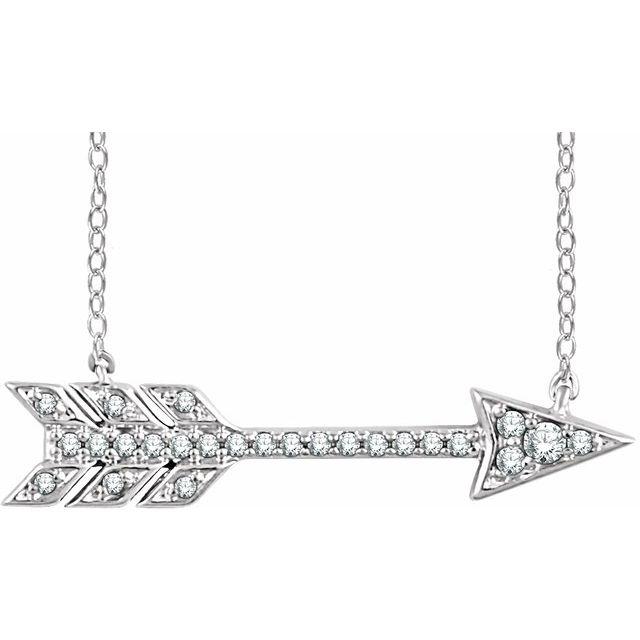 14K White 1/10 CTW Diamond Arrow 18