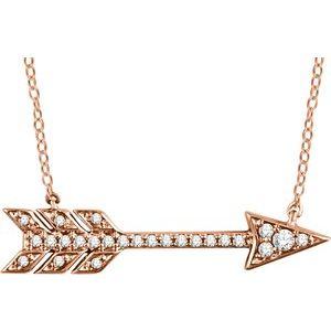 """14K Rose 1/10 CTW Diamond Arrow 18"""" Necklace"""