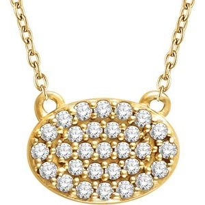 "14K Yellow 1/5 CTW Diamond Oval Cluster 16-18"" Necklace"