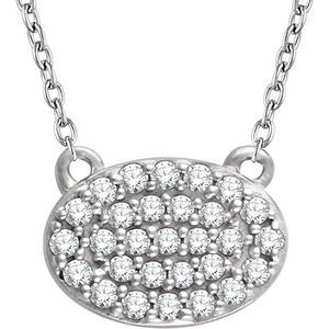"14K White 1/5 CTW Diamond Oval Cluster 16-18"" Necklace"