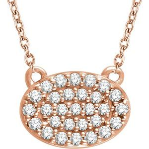 "14K Rose 1/5 CTW Diamond Oval Cluster 16-18"" Necklace"