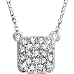 "14K White 1/6 CTW Diamond Square Cluster 16-18"" Necklace"