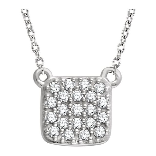 14K White 1/6 CTW Diamond Square Cluster 16-18