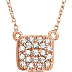 "14K Rose 1/6 CTW Natural Diamond Cluster 16-18"" Necklace"