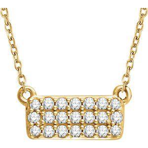 "14K Yellow 1/6 CTW Diamond Cluster 16-18"" Necklace"