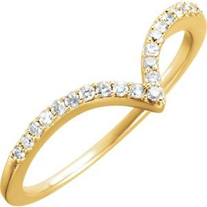 14K Yellow 1/6 CTW Diamond V Ring Size 7