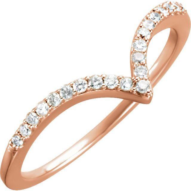 14K Rose 1/6 CTW Diamond V Ring Size 7