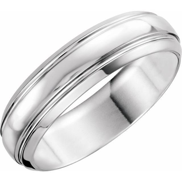 Platinum 6 mm Grooved Band Size 11