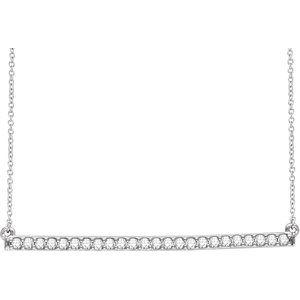 "14K White 1/3 CTW Diamond Bar 16-18"" Necklace"