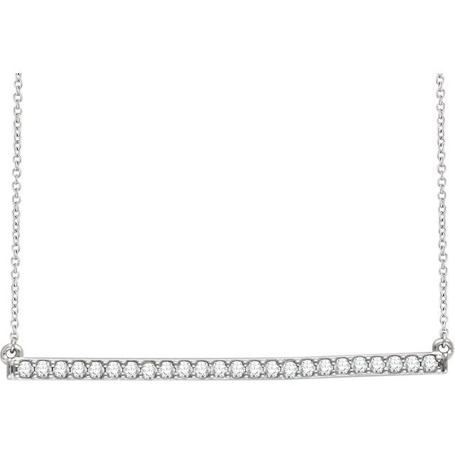 14K White 1/3 CTW Natural Diamond Bar 16-18