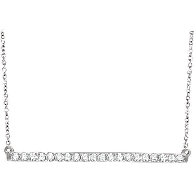 14K White 1/2 CTW Natural Diamond Bar 16-18