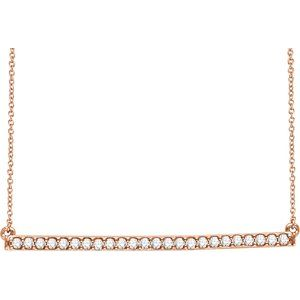 "14K Rose 1/3 CTW Diamond Bar 16-18"" Necklace"