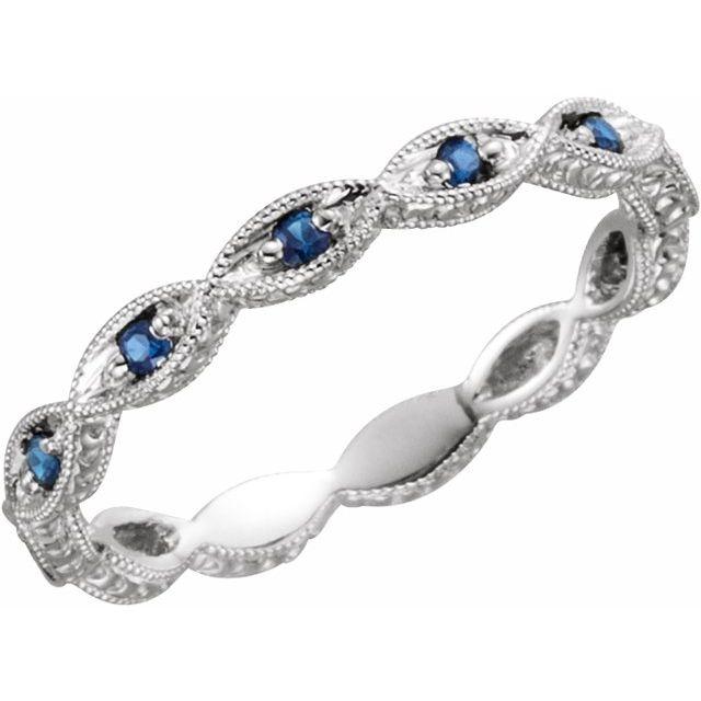 14K White Blue Sapphire Anniversary Band Size 7