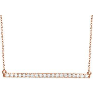 "14K Rose 1/2 CTW Diamond Bar 16-18"" Necklace"