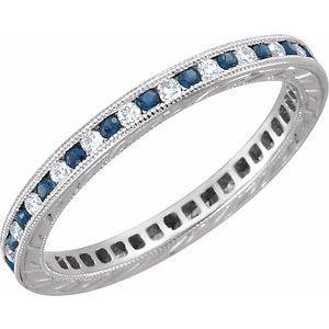 14K White Blue Sapphire & 1/4 CTW Diamond Eternity Band Size 7