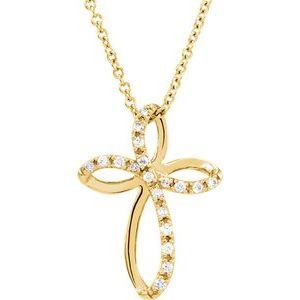 "14K Yellow 1/10 CTW Diamond Cross 18"" Necklace"