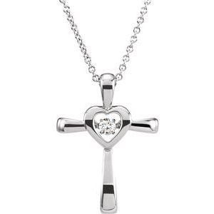"14K White .08 CTW Diamond Heart Cross Mystara® 18"" Necklace"