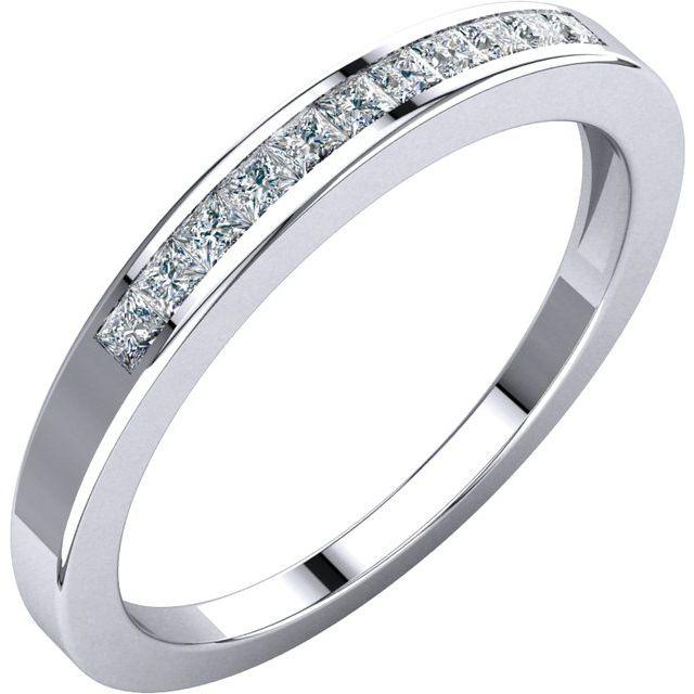 14K White 1/4 CTW Diamond Anniversary Band Size 5.5