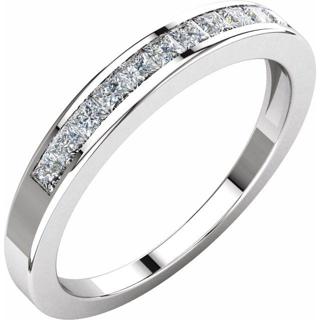 14K White 1/3 CTW Diamond Anniversary Band Size 6