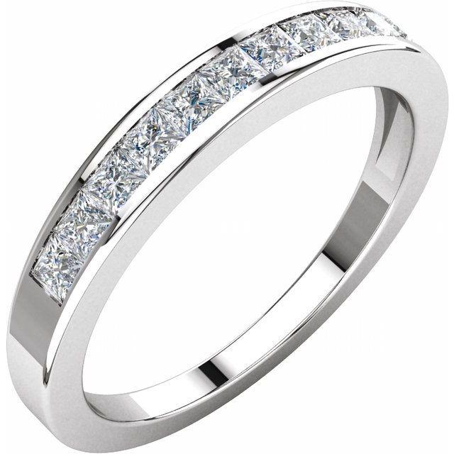 14K White 1/2 CTW Diamond Anniversary Band Size 6.5