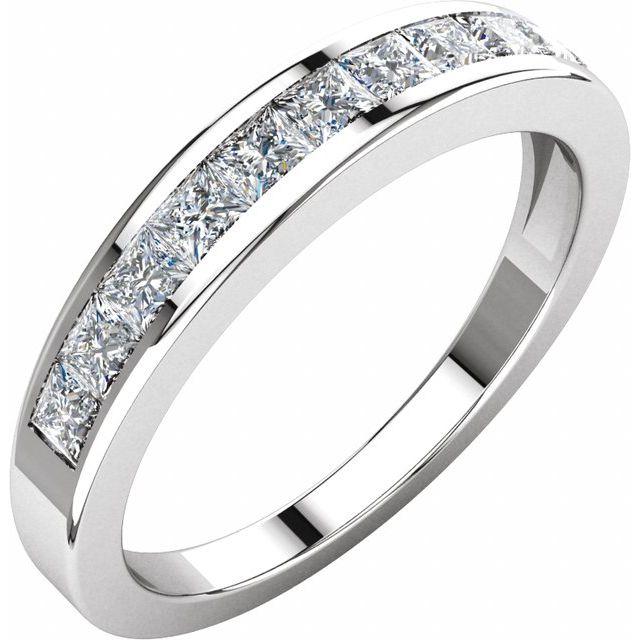 14K White 3/4 CTW Diamond Anniversary Band Size 5
