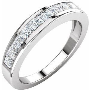 14K White 1 CTW Diamond Anniversary Band Size 7