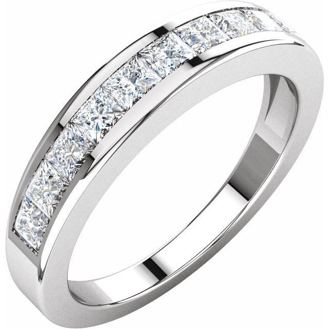 14K White 1 CTW Diamond Anniversary Band Size 6.5