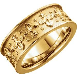 14K Yellow 7.75 mm Fleur-de-lis Band Size 8