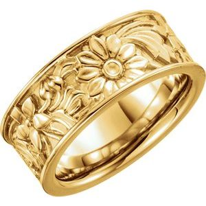 14K Yellow 8.5 mm Floral-Inspired Band Size 7