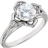 4-Prong Floral-Inspired Solitaire Engagement Ring