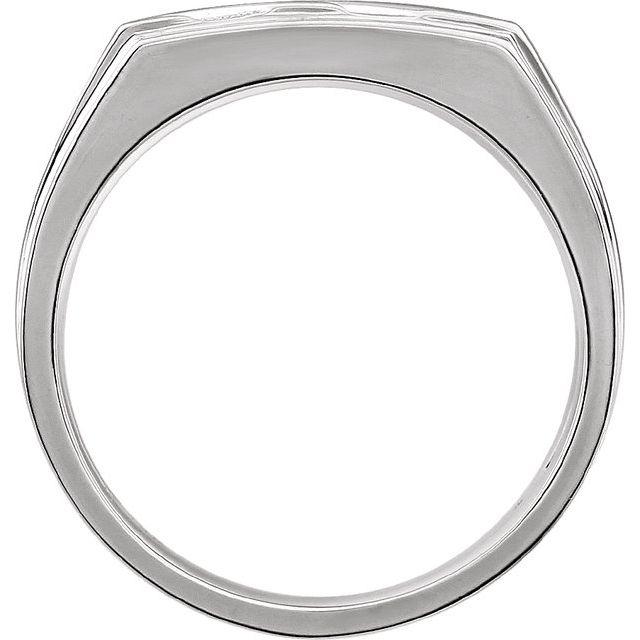 14K White 16x13 mm Rectangle Signet Ring