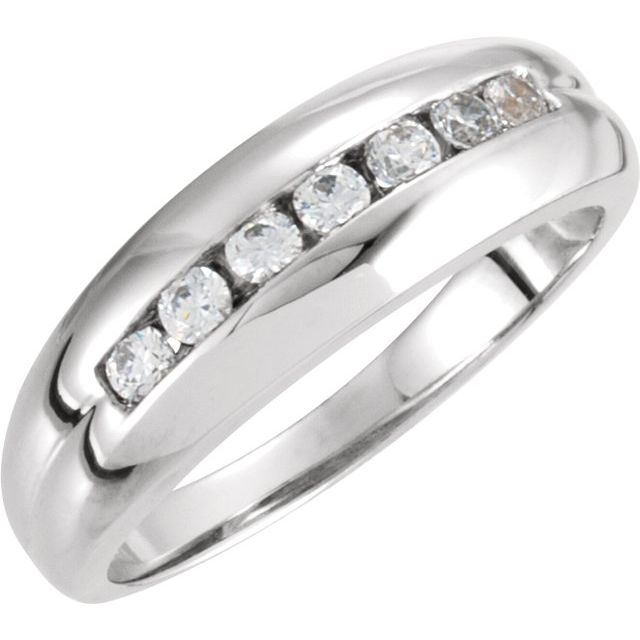 14K White Men-s 3/8 CTW Diamond Ring