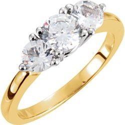 Two Tone Round 3 Stone Anniversary Ring Mounting