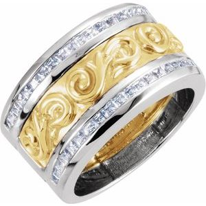 14K White/Yellow 1 CTW Diamond Scroll Anniversary Band