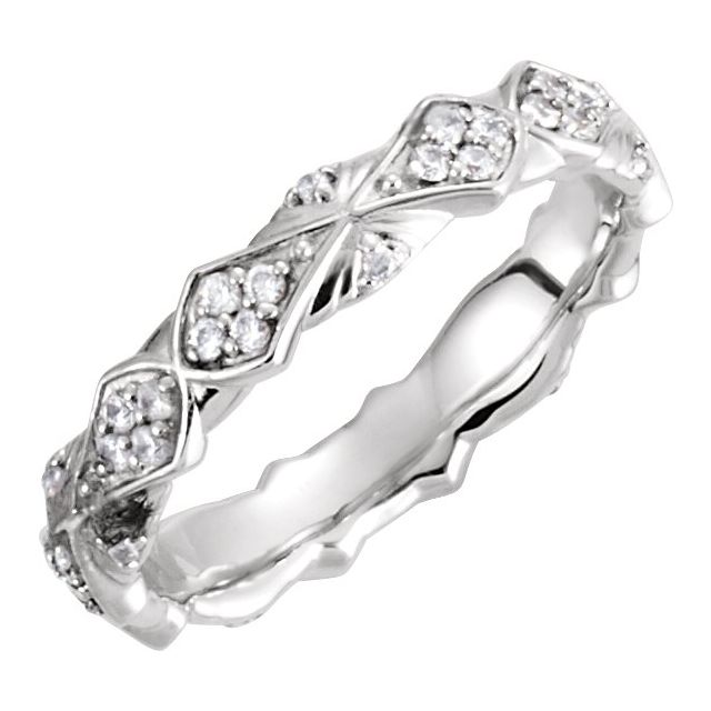 Continuum Sterling Silver 1/3 CTW Diamond Sculptural-Inspired Eternity Band Size 7