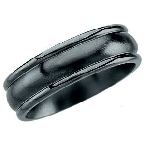 Black Titanium 7.5 mm Grooved Band Size 10.5
