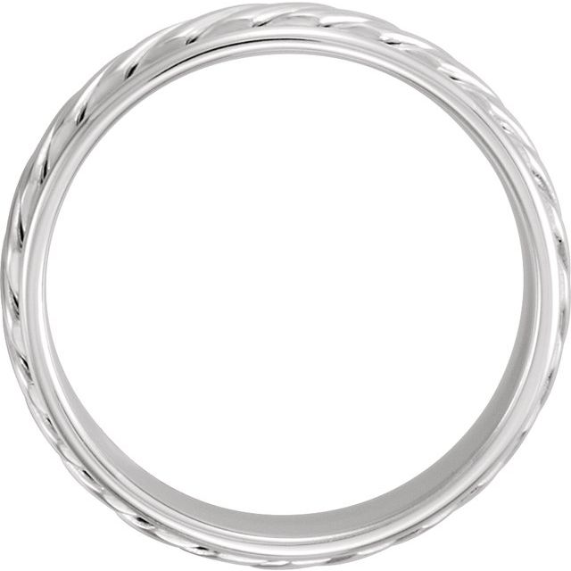 14K White 6 mm Grooved Band Size 9