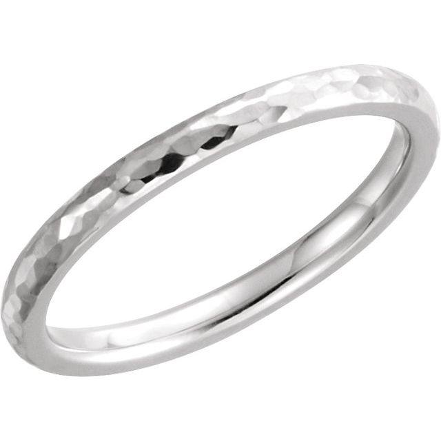 Continuum Sterling Silver 3 mm Half Round Band with Hammer Finish Size 7